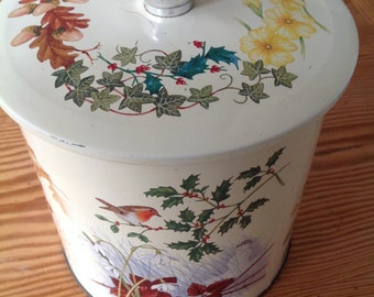 70's Vintage collectable biscuit cookie barrel,tin,seasons,themed,kitchenalia, retro,country kitchen
