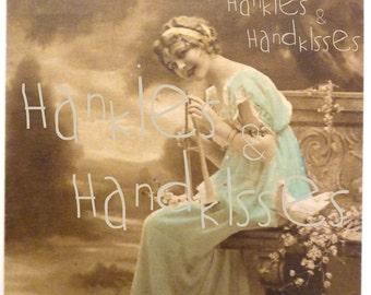 Fair Woman in an antique British card, 1916