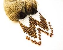 long fringe earrings Beaded Earrings Seed Bead Earrings brown white amber Colorful earrings American Native Style  Beaded Jewelery