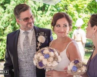 Lavender Wedding Bouquet, Bridal Bouquet, Blue Rustic Bouquet, Violet Sola Flower Bouquet, Handmade Bridal Bouquet, Romantic weddings