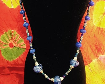 Beaded Moretti Glass Necklace's designed by Lori. Blue