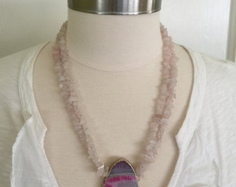 "Pink pendent necklace with pink quartz crystal chip double strand necklace, 22""L"