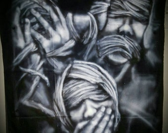 See No Evil Hear No Evil Speak No Evil - Custom Freehand Airbrushed Black Handkerchief