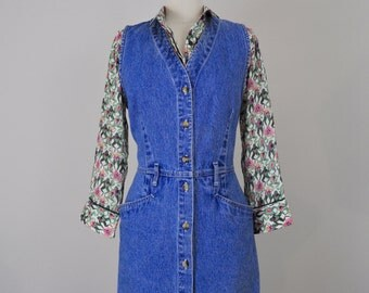 Button Up Denim Dress   Vintage 1980's 1990's