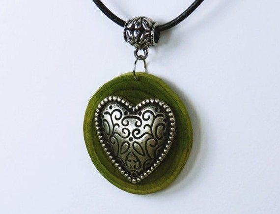 Romantic heart necklace of green olive wood with traditional costume heart on black leather strap unique Oktoberfest Valentine's Day