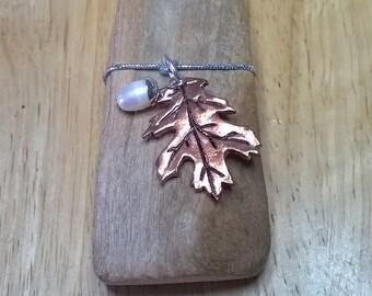 Copper & freshwater pearl oak leaf pendant