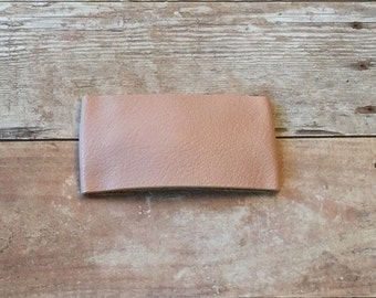Blush pink leather snap clip