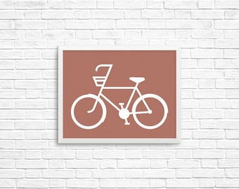 Bicycle Silhouette,  8x10 Art Decor Digital Print