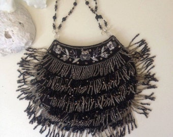Black and white beadwork evening bag,Beaded Purse Evening Purse