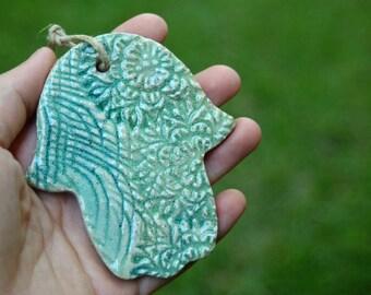 Medium ceramic Hamsa. Handmade Hamsa. Turquoise Hamsa. Green Hamsa. Blue pottery Hamsa. Garden decor. Decoration Hamsa. Indoors & outdoors