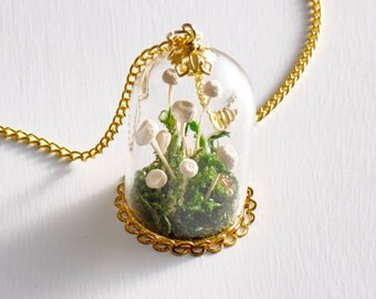 Living necklace real flower necklace real plant necklace brazilian star flower botanical necklace mini terrarium necklace live plant necklac