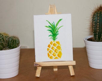 Mini Wooden Easel with Pineapple Painting on Canvas