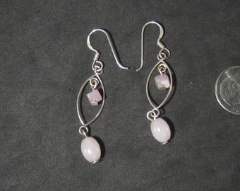 Vintage Sterling Silver Colored Bead Dangle Earrings Pierced Style