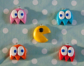 Pacman Polymer Clay Charms