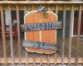 Pumpkin  Sign - Fall Sign - Welcome Fall Sign - Pumpkin Pallet Sign - Wood Sign - Porch Sign - Custom - Hand Painted - Autumn  Decor