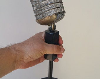 Antique table top microphone broadcast news radio decor, home theater, music room, DJ mike man cave recording star Pyle, Shure, Blair Buttke