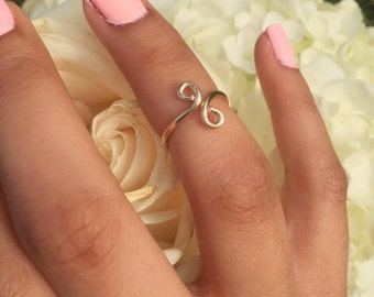 Midi Infinity Ring , Midi Gold Infinity Ring,  Midi Vertical Infinity, Midi Sideways Infinity, Midi Ring, Midi Trendy Ring - Gold