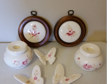vintage 7 piece butterflies candle holders and wall plaques by lasting products - pink & white porcelain - butterfly candlesticks framed art