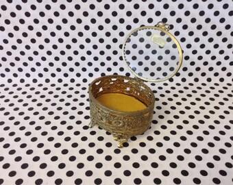 Gardens of Gold~Globe~Brass~Glass~Box~Trinket~Jewelry~Vanity~Display Case