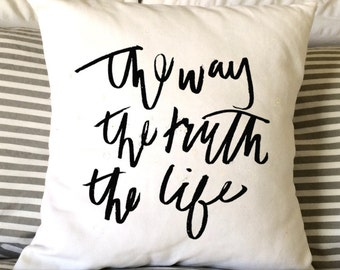 Easter Pillow, Religious Pillow, Inspirational Pillow,  Decorative Pillow, Throw Pillow, 16x16 Pillow, Burlap or Canvas Pillow, Handlettered