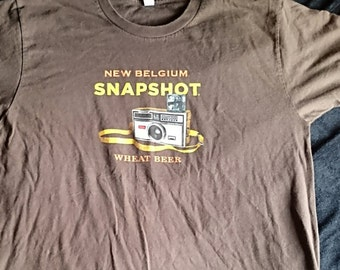 Brown T-shirt,New Belgium Snap Shot Wheat Beer, Microbrewery Beer Shirts,Independent Beer T Shirt,Folk T Shirt,Beer T Shirt,Beer T Shirts