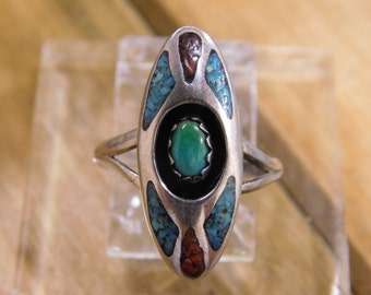 Delicate Turquoise Shadowbox Ring with Turquoise and Coral Chip Inlay 4 .25
