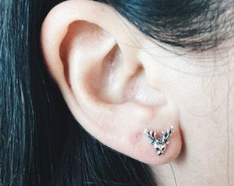 Sterling silver deer antler ear studs, Silver deer antler ear studs, Raindeer studs, Deer antler cartilage stud, Funky ear studs (ES129)
