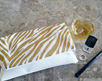 Foldover Clutch,  Zebra Print Foldover Clutch , Faux Leather Clutch , Gold and White Clutch , Animal Print Clutch , White Clutch , Clutch