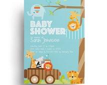 Elephant Baby Shower Invitation - 1st Birthday Invitation for Baby boy, Safari Baby shower