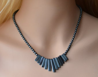 necklace, made with hematite beads, right-angled and round beads