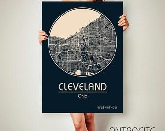CLEVELAND Ohio CANVAS Map Cleveland Ohio Poster City Map Cleveland Ohio Art Print Cleveland Ohio poster Cleveland Ohio map