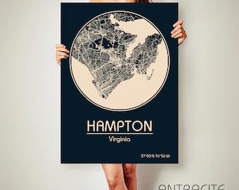 HAMPTON Virginia CANVAS Map Hampton Virginia Poster City Map Hampton Virginia Art Print Hampton Virginia
