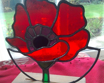 Stained Glass 'Lest We Forget' Commemorative Poppy On Hardwood Base