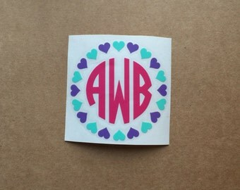 Heart Monogram Decal | Circle Monogram | Monogram Sticker | Car Decal | Laptop Decal | Love Decal | Valentines Decal | Heart Monogram