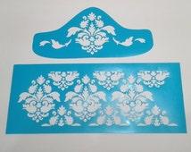 stencil for wedding or party cakes, plantillas para tarta de fondant, 2 steps damask lotus stencil