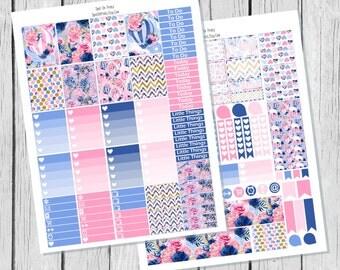 Indigo Bloom Planner Sticker Printable / Spring Planner Stickers / Printable Planner Stickers / Weekly Planner Sticker Kit