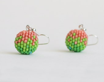 Beaded earrings Watermelon earrings Dangle earrings Pink boho earrings Green ball earrings Beaded jewelry Holiday gift Bridsmaid gifts