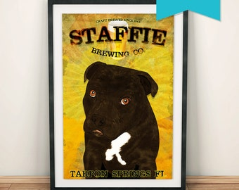 Staffie Brewing Co Original Illustration Vintage Style Dog Staffordshire Bull Terrior Giclee Large Print on Satin or Cotton Canvas Wall Art