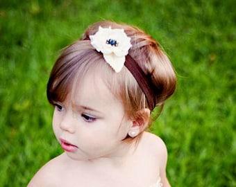 Girls Headband, Flower Headband, Baby Headband, Ivory Flower, Cuter Bows, Girls, Baby Girl, Headbands, Bows, Baby Bow, Girls Bow, Flower Bow