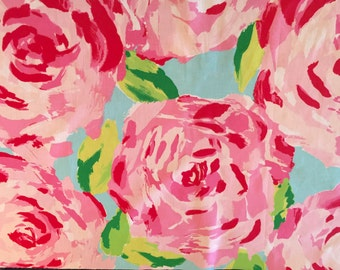 Hotty Pink FIRST IMPRESSIONS Fabric 18x18 or 18x9 Lilly HPFI Roses Hot Pink Garnet Hill