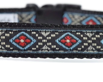 Diamond Dog Collar, black dog collar, boy dog collar, red dog collar, unique dog collar, geometric dog collar, handsome dog collar