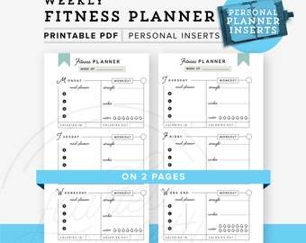 Fitness Planner Personal Printable, Personal planner inserts Weekly Fitness Planner printable  Personal Size, INSTANT DOWNLOAD Planner