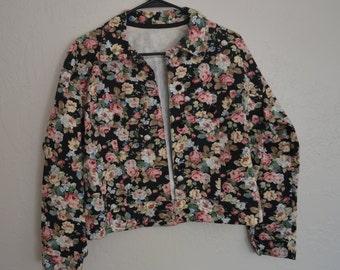 Vintage 90s floral denim jacket