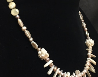 Seashell and Pearl Necklace