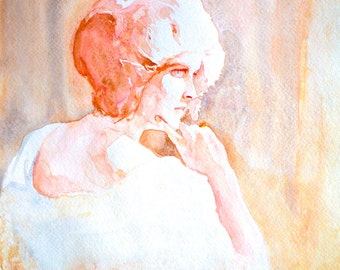 "Watercolor Portrait ""Reminisce"" 8x10 Fine Art Giclee Print"