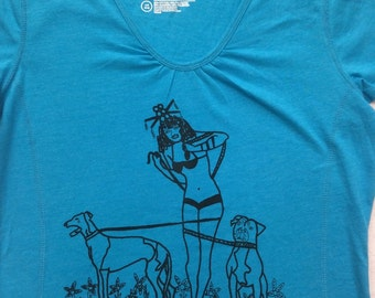 Pit Bull Tee Shirt- Greyhound Tee Shirt- Pin Up Tee- Pit Bull Gift- Greyhound Gift- Dog Tee Shirt- Dog Lover Gift- Sexual Humor Tee- Size L