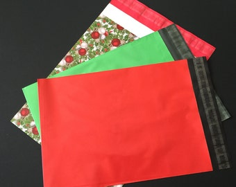 100 9x12 and 10x13 CHRISTMAS Assortment HOLLYBERRY Red Green Poly Mailers Self Sealing Envelopes