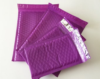 50 4x8 And 6x9 PURPLE  Bubble Mailers Assortment 25 Each Size 000 Size 0 Self Sealing Shipping Envelopes Valentine Spring Easter