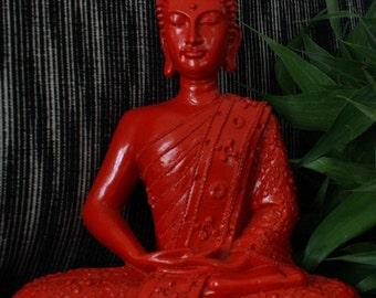 SALE! Sitting Buddha Amithabha  Statue, Red, Large - 29cm, Meditation, Serenity, Zen, Balinese