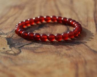 Carnelian Stone - 6mm Genuine Semi Precious Stone Bracelet